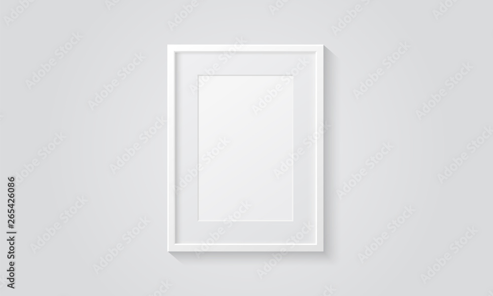 Fototapety, obrazy: Picture frame isolated on a wall. White color. Realistic modern template. A4 vertical format. Mock up for pictures or photo. Beautiful minimal clean design. Eps 10 vector illustration.