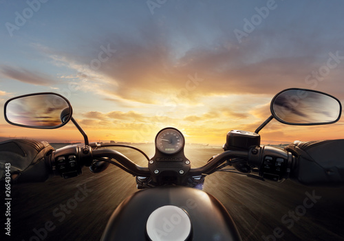 POV of motorcycle driver with handlebars. Wallpaper Mural