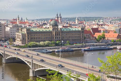 Foto auf Gartenposter Stadt am Wasser City Prague, Czech Republic. View from the mountain to the river and bridge. Spring. 2019. 24. April. Travel photo.