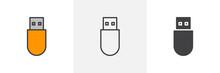 Usb Stick Icon. Line, Glyph An...