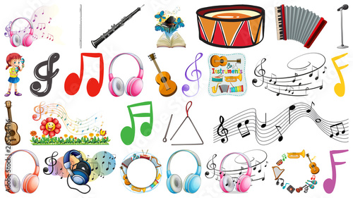 Fotobehang Kids Set of music instruments