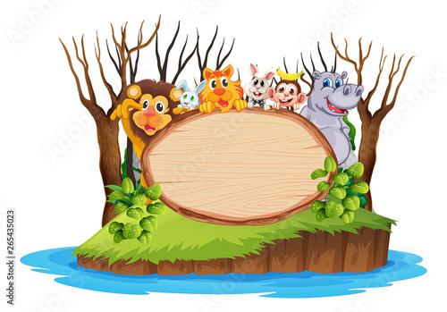 In de dag Kids Wild anima on wooden board