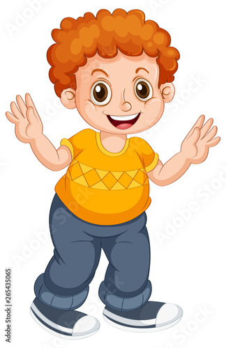 Poster Kids Boy child character on isolated background