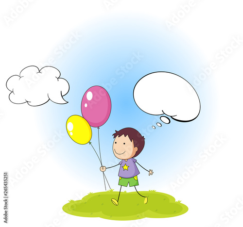 Fotobehang Kids Doodle boy with speech balloon