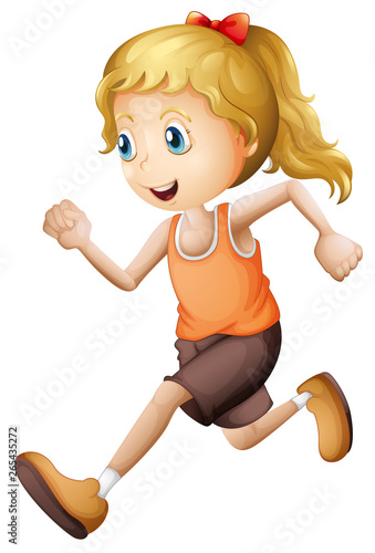Tuinposter Vlinders blonde girl running isolated