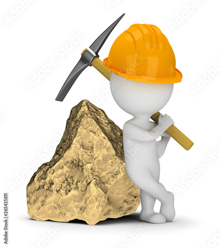 Fotografie, Tablou  3d small people - miner next to a big gold nugget