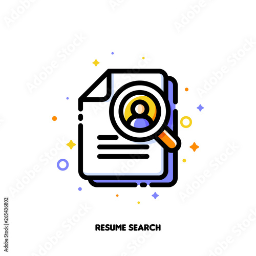 Vászonkép Icon of magnifying glass and resume for professional staff recruitment or searching efficient employees concept