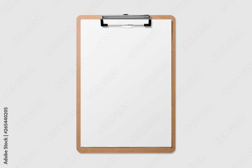 Fototapety, obrazy: Mockup of wooden clipboard with blank paper isolated on light grey background.