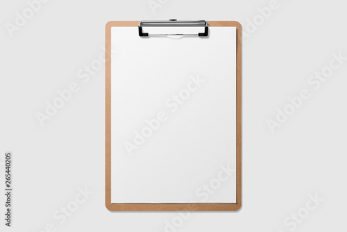 Mockup of wooden clipboard with blank paper isolated on light grey background Canvas Print