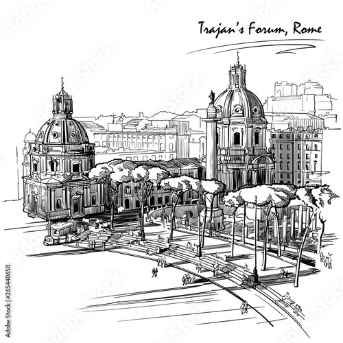Fototapety, obrazy: Forum of the Emperor Trajan in Rome, Italy. Engraving style sketch. Vintage design. Travel sketchbook drawing. EPS10 vector illustration.