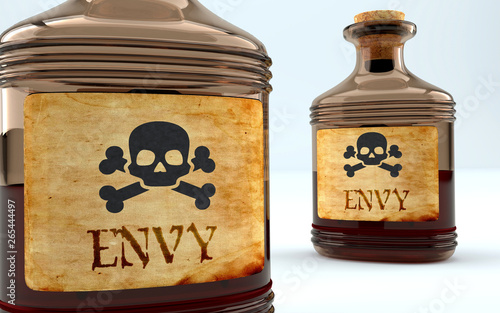 Canvas Print Dangers and harms of envy pictured as a poison bottle with word envy, symbolizes