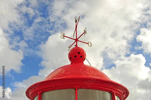 Poster de jardin Inde Lighthouse of Nazare with blue cloudy sky