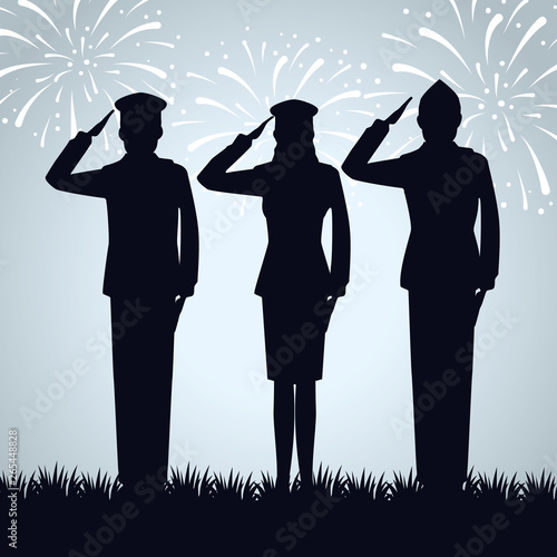 group of military people silhouettes Fototapet