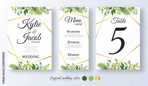 Fototapety, obrazy: Wedding Invitation with gold element, menu card, table number Floral design with green watercolor leaves, foliage greenery decorative frame print. Vector elegant cute rustic greeting, invite, postcard