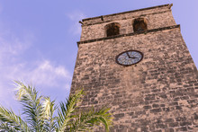 The Bell Tower Of Saint Bartholomew Church In The Old Town Of Xabia, Also Known As Javea, In Spain.