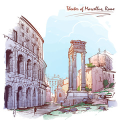 Panel Szklany Do pizzerii Theater of Marcellus and portico of Octavia in Rome, Italy. Painted sketch. Vintage design. Travel sketchbook drawing. EPS10 vector illustration.