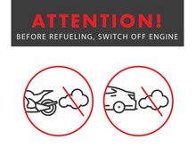 Attention Switch Off The Engine Poster With Linear Vehicle Illustration
