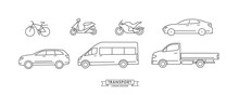 Collection Of Linear Means Of Transport Icons Or Illustrations