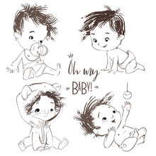 Lovely Set With Cartoon Little Baby Boy