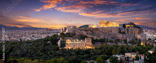 Poster Athens Panorama der beleuchteten Akropolis von Athen, Griechenland, nach Sonnenuntergang am Abend