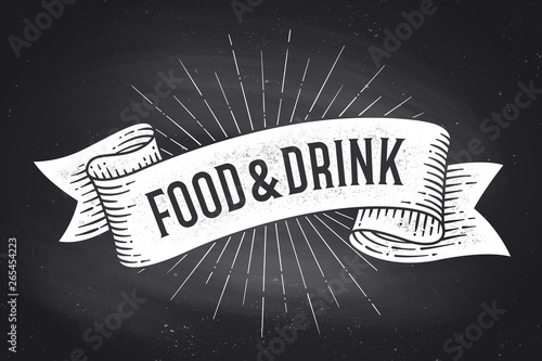 Obraz na plátne  Food and Drink. Old school vintage ribbon banner