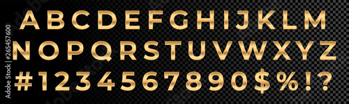 Foto Golden font numbers and letters alphabet typography