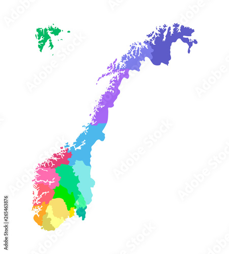 Vector isolated simplified illustration with silhouette of Norway, colorful cont Fototapet