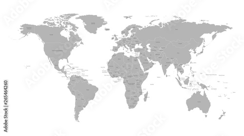 Vector isolated simplified world map with states borders. Grey silhouette, white outline and  background. Note: Morocco and Western Sahara shown separately