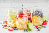 Various fruit and berry lemonade