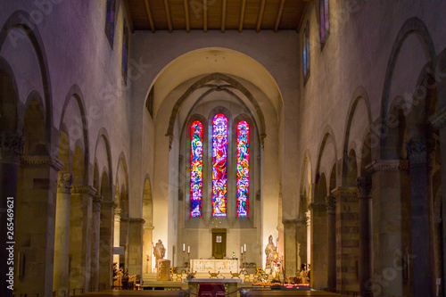 Colorful window inside of the Abbey of Echternach (Basilica of Saint Willibrord) Canvas Print