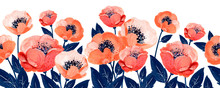 Gouache Floral Border With Coral Anemones And Leaves. Hand-drawn Clipart For Art Work And Weddind Design.