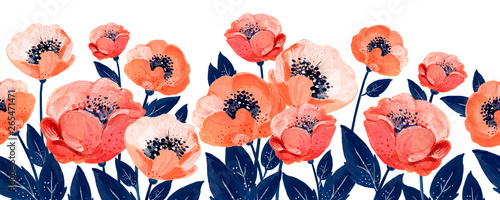 Slika na platnu Gouache floral border with coral anemones and leaves