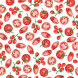 Seamless pattern with fresh tomatoes and tomato slices on white background. Hand drawn watercolor illustration.