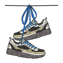 Sneakers Are Hanging On Wire Color Sketch Engraving Vector Illustration. Scratch Board Style Imitation. Black And White Hand Drawn Image.