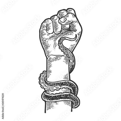 Fotografía Octopus tentacle wrapped around human arm sketch engraving vector illustration