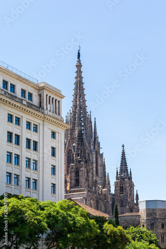 Photo  Gothic cathedral of Barcelona - Spain Europe