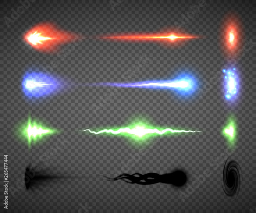 Futuristic energy weapon firing effect vectors, sci-fi or computer game graphics Canvas Print