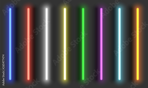 Fototapeta Neon light brushes with shadows, fully adjustable various colors neon design elements, colorful light tubes set on dark background obraz