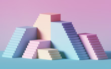 3d Render, Pink Blue Stairs, S...