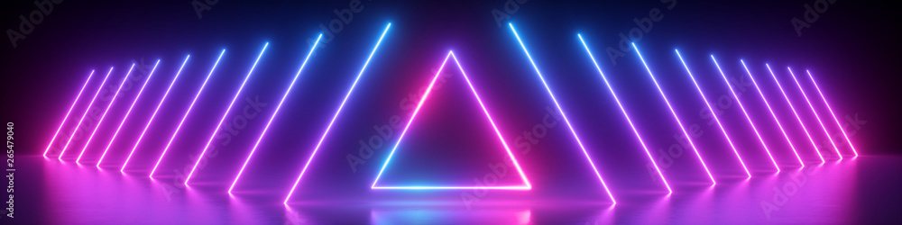 Fototapeta 3d render, abstract panoramic background, neon light, glowing lines, triangle shape symbol, ultraviolet spectrum, virtual reality, laser show