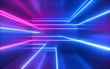 canvas print picture - 3d render, pink blue neon lines, geometric shapes, virtual space, ultraviolet light, 80's style, retro disco, fashion laser show, abstract background