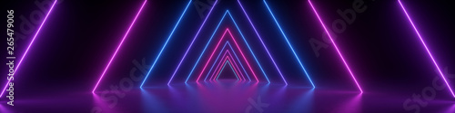 Foto 3d render, abstract panoramic background, neon light, glowing lines, triangular