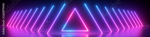 Foto 3d render, abstract panoramic background, neon light, glowing lines, triangle sh