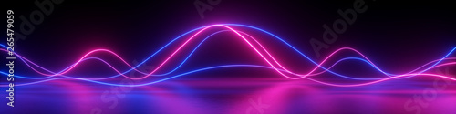Obraz 3d render, abstract panoramic background, neon light, laser show, impulse, equalizer chart, ultraviolet spectrum, pulse power lines, quantum energy impulse, pink blue violet glowing dynamic lines - fototapety do salonu