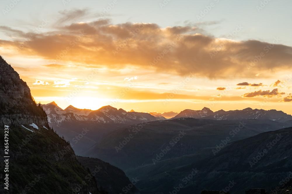 Fototapety, obrazy: Orange Sun Set Glows Over Montana Moutains