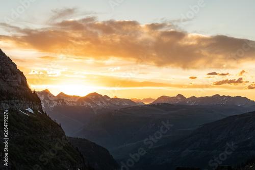 Orange Sun Set Glows Over Montana Moutains