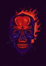 Original Vector Poster In Vintage Style. Stylized Neon Skull On The Background Of Bright Fire