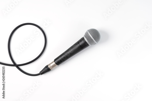 Microphone on white background with clipping path Canvas Print