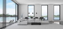 View Of White Living Room In Minimal Style With Black And White Furniture On Dark Laminate Floor.Interior Design With TV And Sofa Set On Sea Background. 3d Rendering.