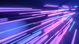 Fototapeta Perspektywa 3d - Neon pink blue light streaks. 3d illustration abstract motion background. Fluorescent ultraviolet light, laser neon lines.